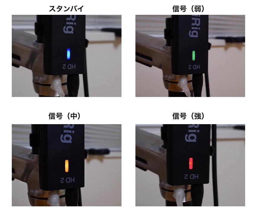 ベースの入力信号の強弱で変わる色